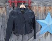 1970's, black leather, moto jacket, women's size 8