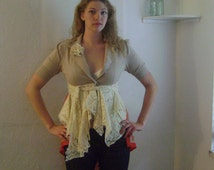 Tan Shabby Romantic Chic Lace Upcycled Jacket - Hourglass Jacket with Lace and Vintage scarf