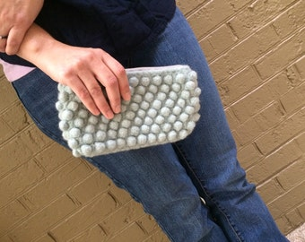 Clutch - Sea Foam Wool Felted Bubble Purse