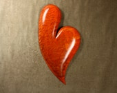 Best romantic heart Valentine's Day present orange wood carvings