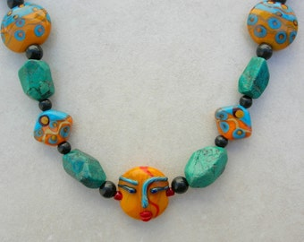 FUN Orange Face Bead, Lampwork Glass Focal & 6 Matching Beads, Natural Grade AA Turquoise Beads, Faces Collection, Necklace by SandraDesigns