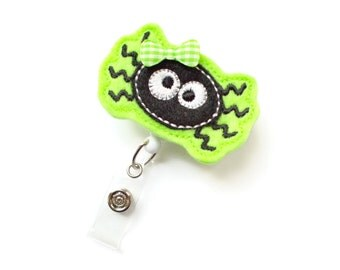 Ms. Green Spider - Halloween ID Badge Reel - Name Badge Holder - Nursing Badge - Nurse Badge Holder - Pediatric Badge Clip - Teacher Badge
