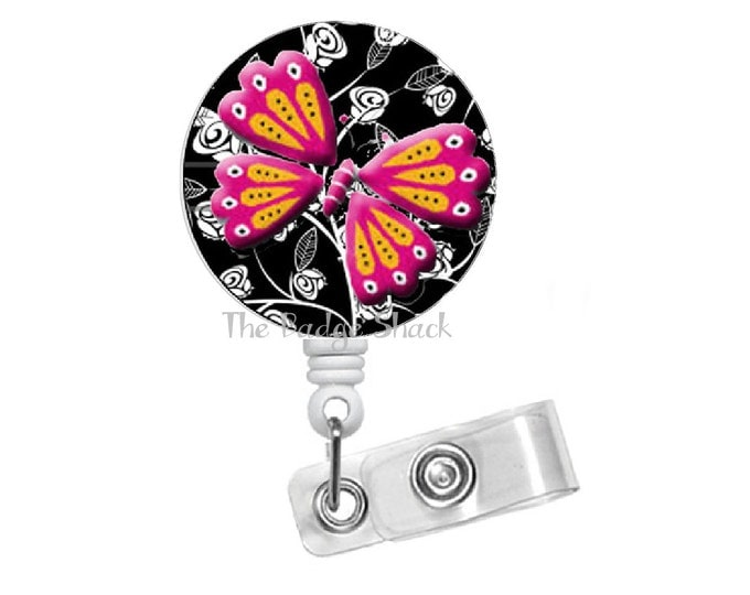 "Pink and Yellow Butterfly 1.5"" - Funny  Badge Reel - Humorous Badge Reel - Nursing Badge - Teacher Badge Reel - RN Badge - Gift for Her"