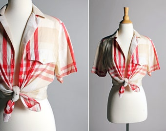 Vintage Summer Button Up Plaid Blouse - Americana Red White Tan Boxy Short Sleeve Oxford Top Shirt Cotton Woven Pin Up - Size Large L