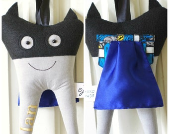 Super Hero Tooth Fairy Pillow with Mask and Cape (can be personalized)