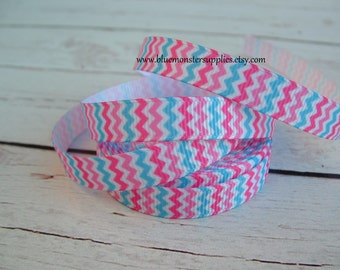 5 Yards 3/8 Inch Pink and Turquoise Chevron Grosgrain Ribbon