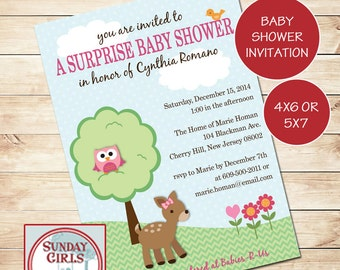 Woodland Critters Baby Shower Invitation - Printable Custom Card