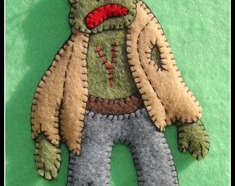ZOMBIE ornament-Zombie refrigerator ornament-handmade felt-unique gift idea