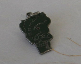 SALE Vintage Sterling Silver and Enamel Vermont State Charm