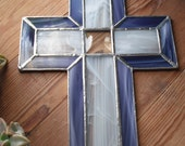 Stained Glass Cross Crucifix Bevel Purple