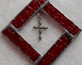 Red Cross Frame, Stained Glass, Marcasite Cross