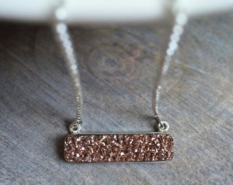Druzy Bar Necklace, Rectangular Druzy Pendant, Rose Gold Metallic Pendant, Sterling Silver Chain Necklace, Druzy Jewelry, Minimal Jewelry