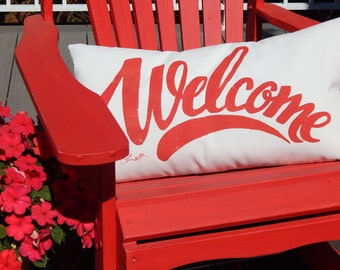 """Outdoor pillow WELCOME your choice color on white 14""""x24"""" accent hand painted bench deck patio porch swing cabin Crabby Chris Original"""