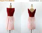 SALE 35% off 1950s Vintage Dress - Sleeveless Velvet Bodice with Damask Textured Floral Skirt