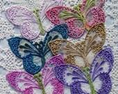 Lace Butterfly Applique Hand Dyed Crazy Quilt Embellishment Crazy Quilt Applique