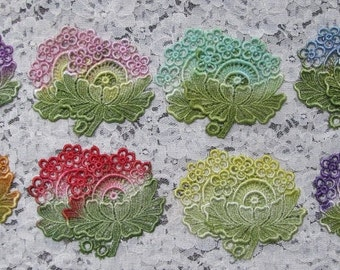 Lace Flowers Hand Dyed Venise Applique Motif Embellishment