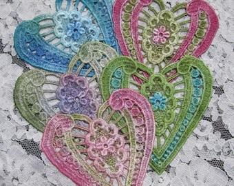 Vintage Lace Hearts Hand Dyed Venise  Motif Embellishment Crazy Quilt Applique