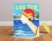 Carte de Lido temps - Vintage carte-Art déco