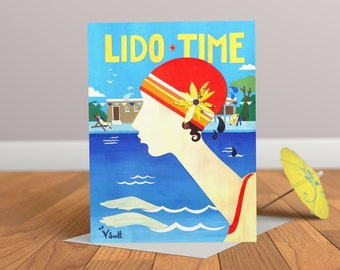 Lido Time- Vintage Card- Art Deco Card