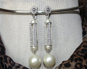 sale MARVELLA Vintage Rhinestone Chandelier Dangling Pearl Earrings