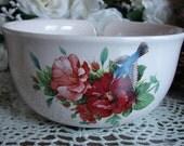 Hummingbirds & Hibiscus! Large Ceramic Yarn Bowl / Yarn Holder