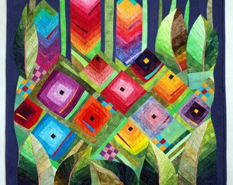 Art  quilt, abstract quilt, wall hanging- Rainbow Garden