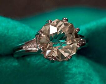 Green Amethyst & Diamond Unique Engagement Ring