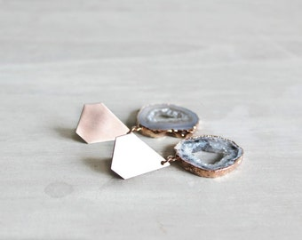 Druzy Agate Earrings with Rose Gold Diamond Shape Studs