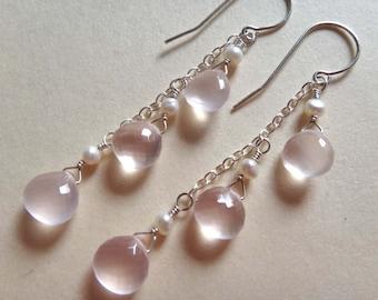 Pink gemstone earrings, pink and white earrings, rose quartz earrings, AAA pink quartz earrings, pink quartz pearl dangle earrings, handmade
