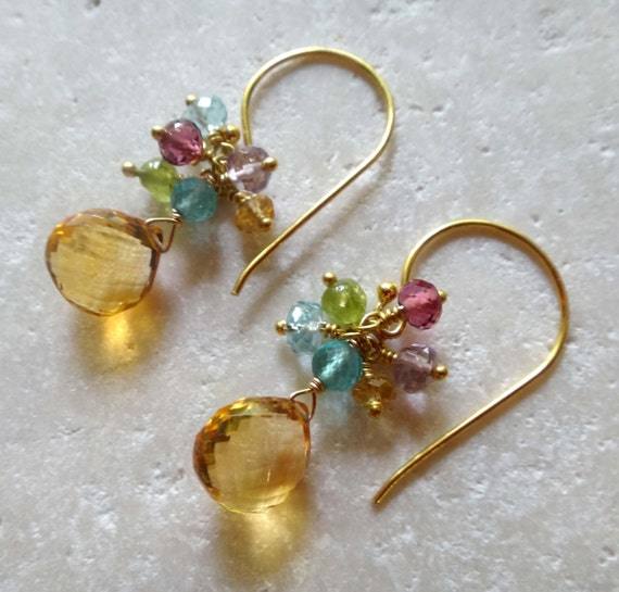yellow gemstone earrings citrine earrings citrine cluster