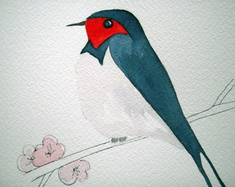 Swallow, original bird watercolor, navy and red, small art, bird on branch, simple, children's, nursery art, whimsical