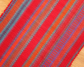 Cotton Rag Rug in Reds / Kitchen Rug  2' x 3' / Bathroom Rug / Handmade Rug / Southwest Rug