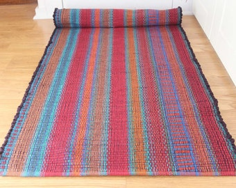 Rag Rug Runner in Deep Reds / Rug Runner  2' x 6' / Bathroom Rug / Handmade Rug / Southwest Rug