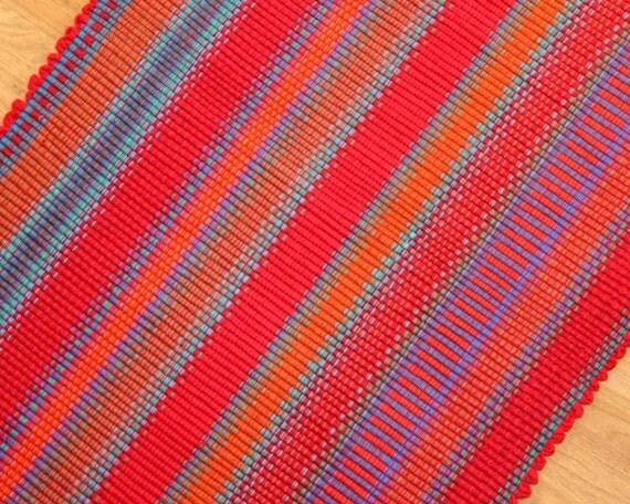Items Similar To Cotton Rag Rug In Reds Kitchen Rug 2 39 X 3 39 Bathroom Rug Handmade Rug