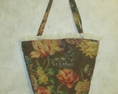 Bucket Bag reclaimed  floral pattern fabric from vintage screen print eco tote