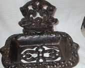 Soap dish Victorian Style Antiqued rusty black or pick your color cast iron soap or business card holder