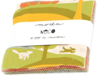 "NECO Charm Pack by Momo for Moda Fabrics 16130PP 42 5"" Fabric Squares"
