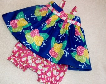 Toddler Top & Bloomer Outfit, Navy Pink and Yellow Floral Outfit , Size 12-18 Month, Toddler Girl Summer Top and Bloomer Outfit, Shower Gift