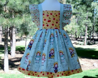 SALE 3T Farm Girl Dress, Farm Animals, Agua and Yellow, Last One and Ready to Ship, Flutter Ruffles by Hopscotch Avenue