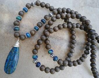 Mens Mala Necklace Natural Grey Wood Mens Mala Beads Chrysocolla Mens Yoga Inspired 108 Bead Mala Blue Green Gemstone Mala