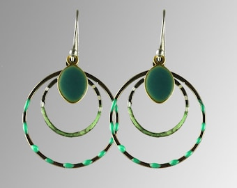 Earring with enamel,edge by Catz,green earrings, cirkle earrings, green pattern earrings, dangle earrings
