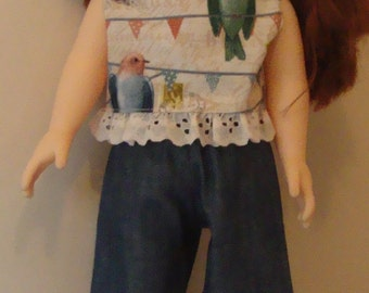 Capris and top for American Girl size or 18 inch doll, american girl shorts, 18 inch shorts, american girl jeans, 18 inch jeans, doll outfit