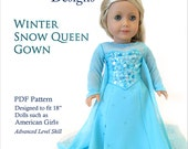 """Winter Queen Deluxe Sewing Pattern for American Girl 18"""" Dolls Dollhouse Designs DIGITAL DOWNLOAD DIY pdf"""