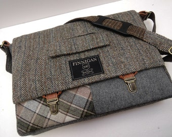 "Messenger Bag, Mens 15"" laptop Messenger Bag , 15""  Macbook Pro Laptop Sleeve, tote bag, Recycled Suit Coat, Upcycled bag"