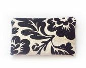 Clutch Black Flower Bag Clutch Zipper Pouch Bridesmaid Gift Handbag Purse Cosmectic Bag Handmade Bohemian Style