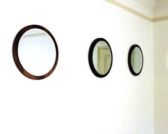 """Set of 3. 16"""" Round Mirror. Floating Mirror. Walnut Mirror. Mid-Century Modern Mirror. 16"""" x 16"""". Back to School. Home Decor."""