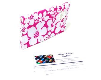 Business card holder, hot pink white, modern bright credit card case, card holder, 2 pockets, secure magnetic snap closure, coworker gift