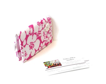 Business card case, credit card holder, hot pink white floral, magnetic closure, 2 pockets