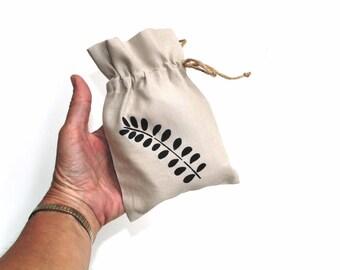 Linen gift bag, linen drawstring pouch, ecofriendly hand stenciled bag, summer bridal shower favor bag, bridesmaids gift bags, linen bag