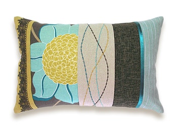 Aqua Duck Egg Blue Teal Sand Beige Mustard Yellow Chocolate Brown Embroidery Lumbar Pillow Case 12 x 18 in IRMA DESIGN Limited Edition